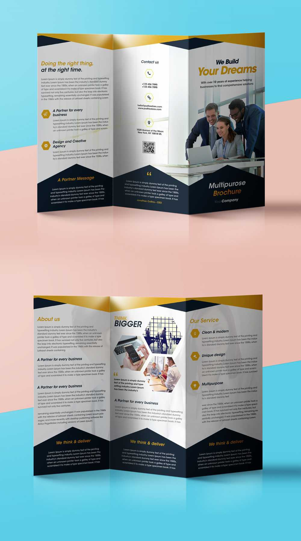Professional Corporate Tri Fold Brochure Free Psd Template With Regard To Brochure 3 Fold Template Psd