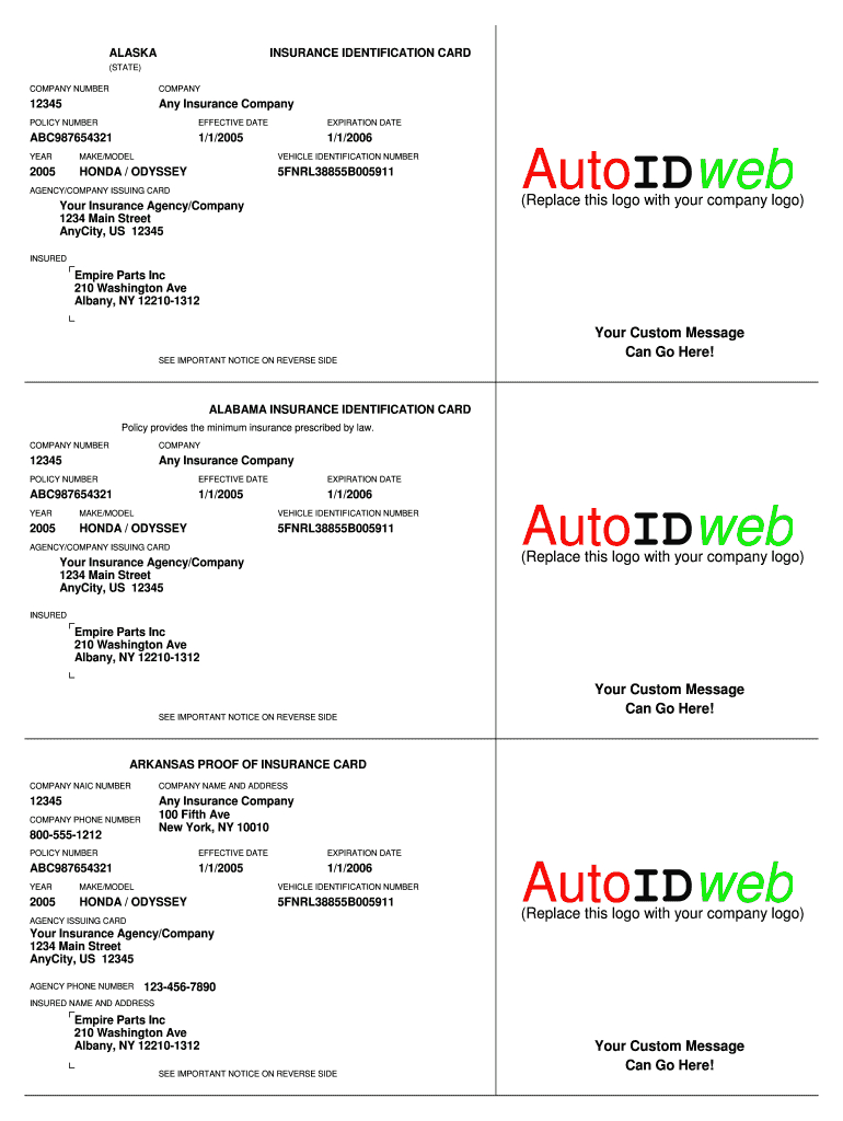 Progressive Insurance Card - Fill Online, Printable For Fake Auto Insurance Card Template Download