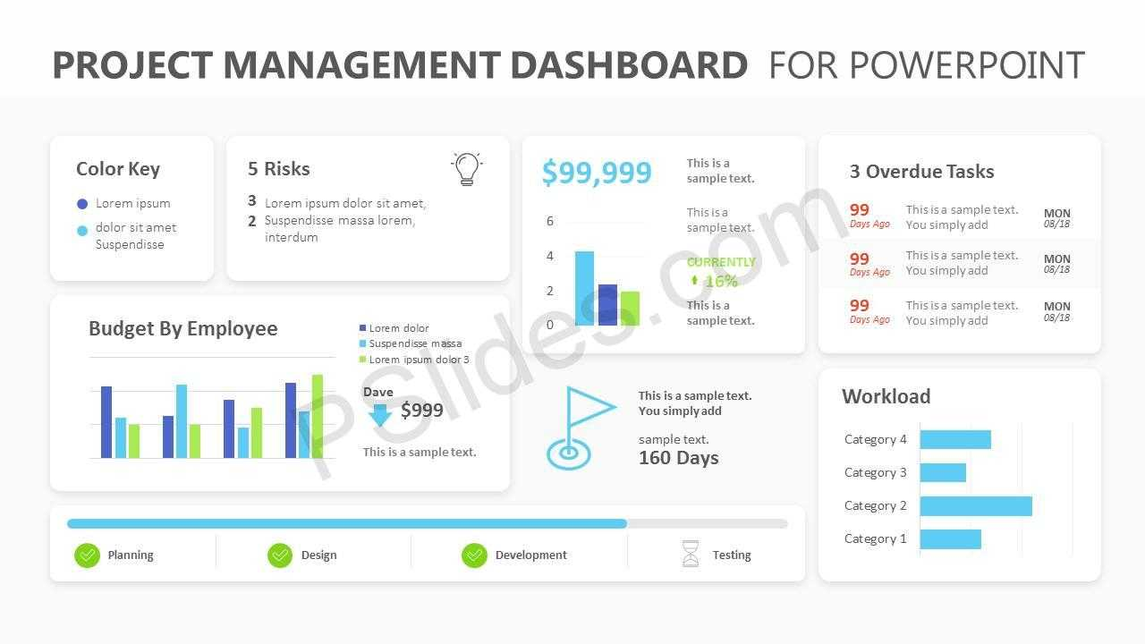 Project Management Dashboard Powerpoint Template - Pslides Regarding Project Dashboard Template Powerpoint Free