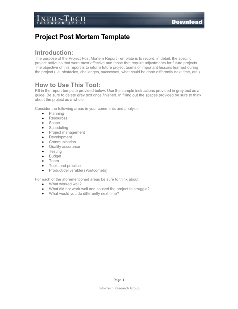Project Post Mortem Template Intended For Post Mortem Template Powerpoint