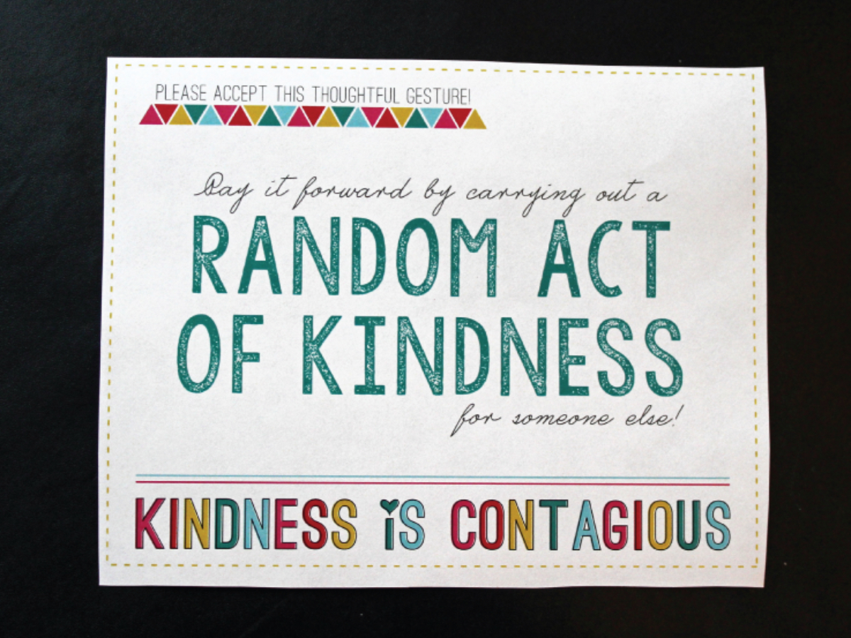 Random Acts Of Kindness Free Printable (Template Card) Pertaining To Random Acts Of Kindness Cards Templates