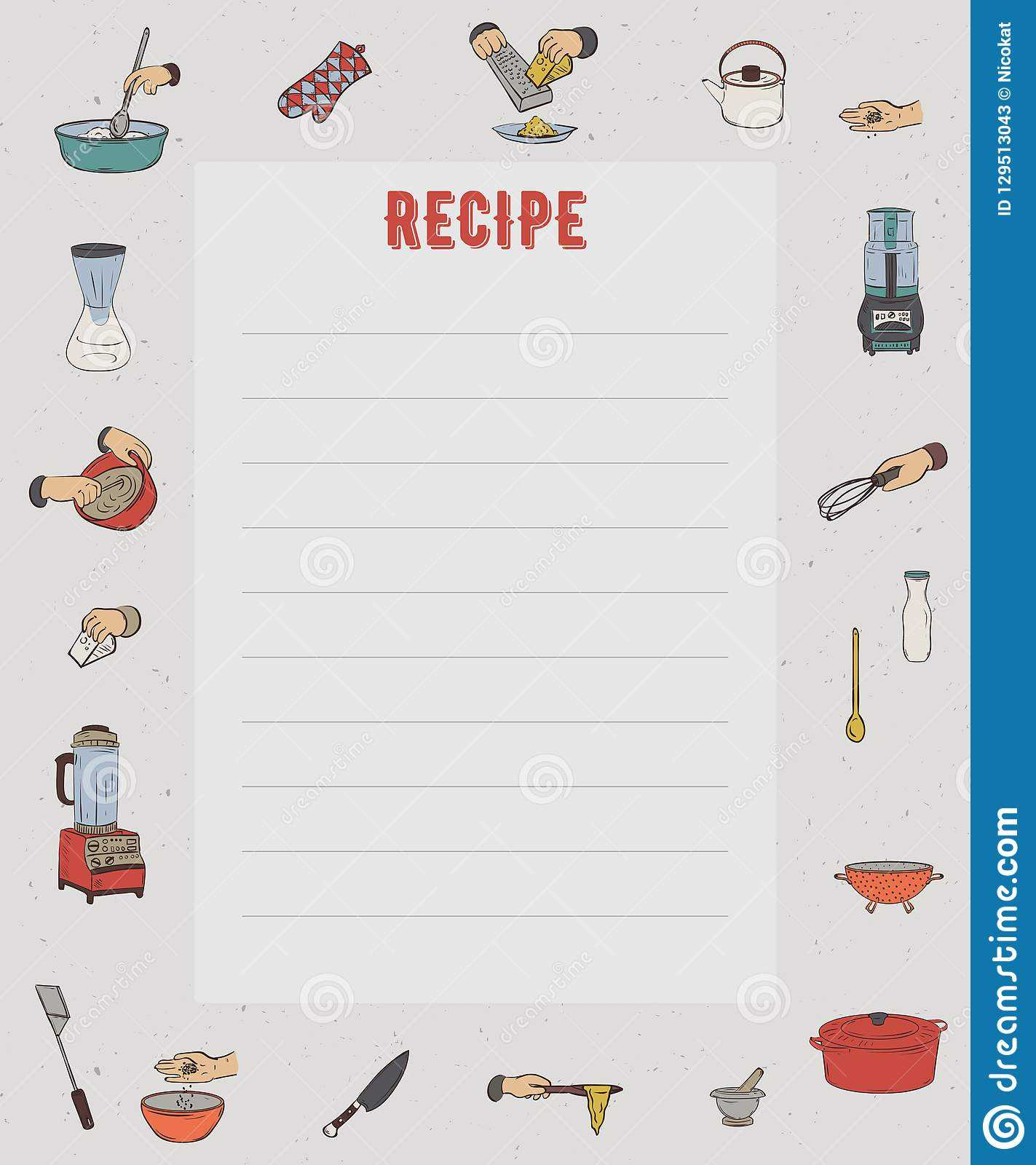 Recipe Card. Cookbook Page. Design Template With Kitchen With Restaurant Recipe Card Template