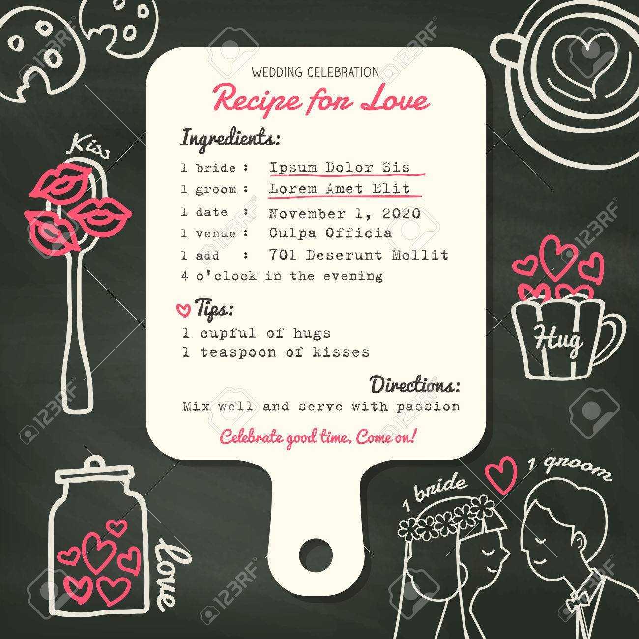 Recipe Card Creative Wedding Invitation Design Template With.. Pertaining To Recipe Card Design Template