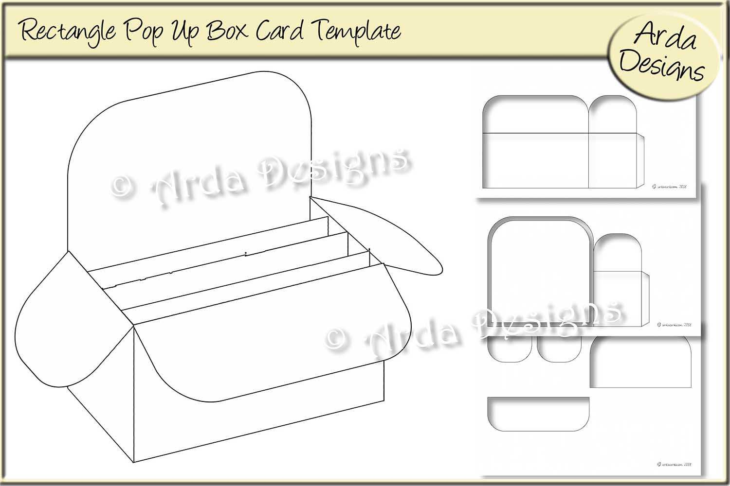 Rectangle Pop Up Box Card Cu Template In Pop Up Box Card Template