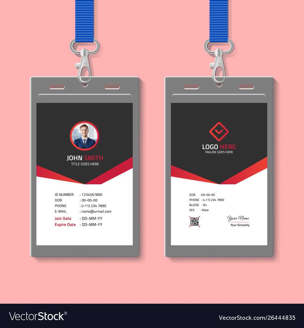 Red And Black Id Card Template Throughout High School Id Card Template