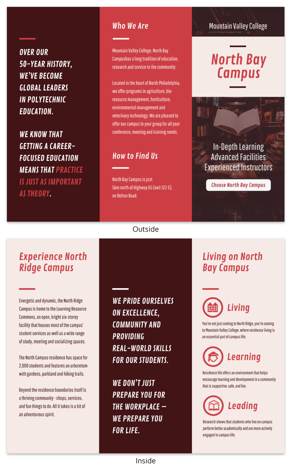 Red College Campus Tri Fold Brochure Template In Student Brochure Template