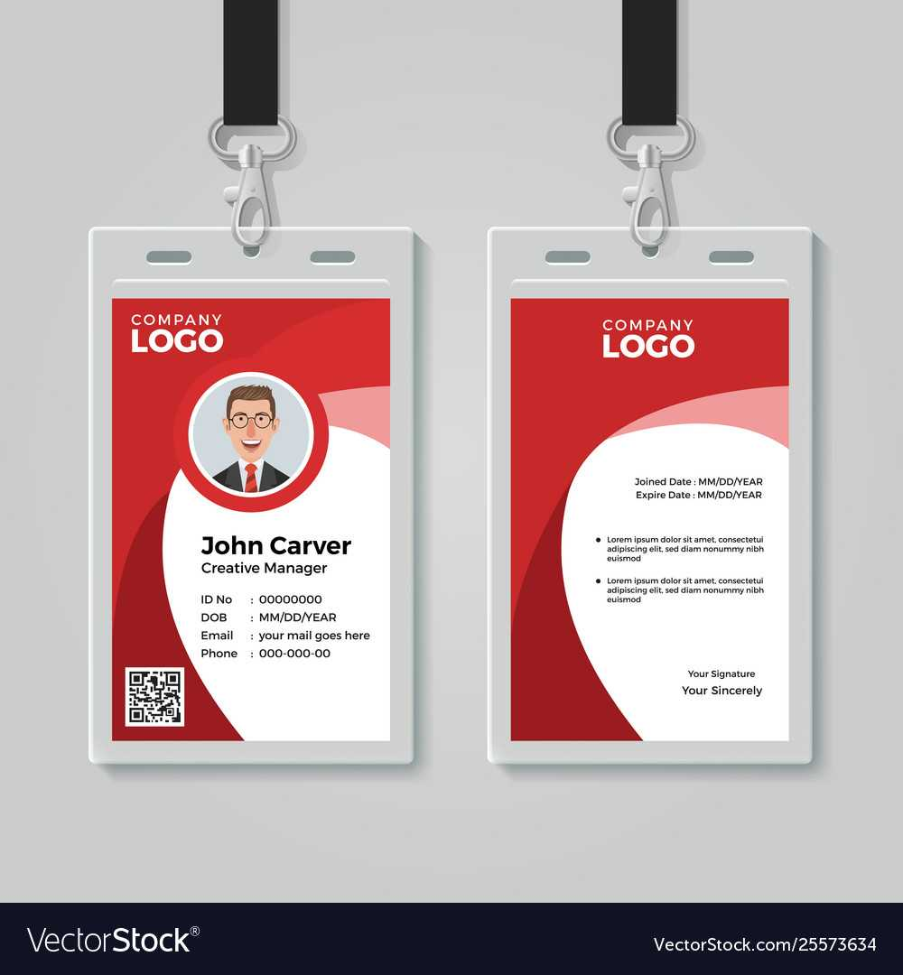 Red Corporate Id Card Template Pertaining To Work Id Card Template