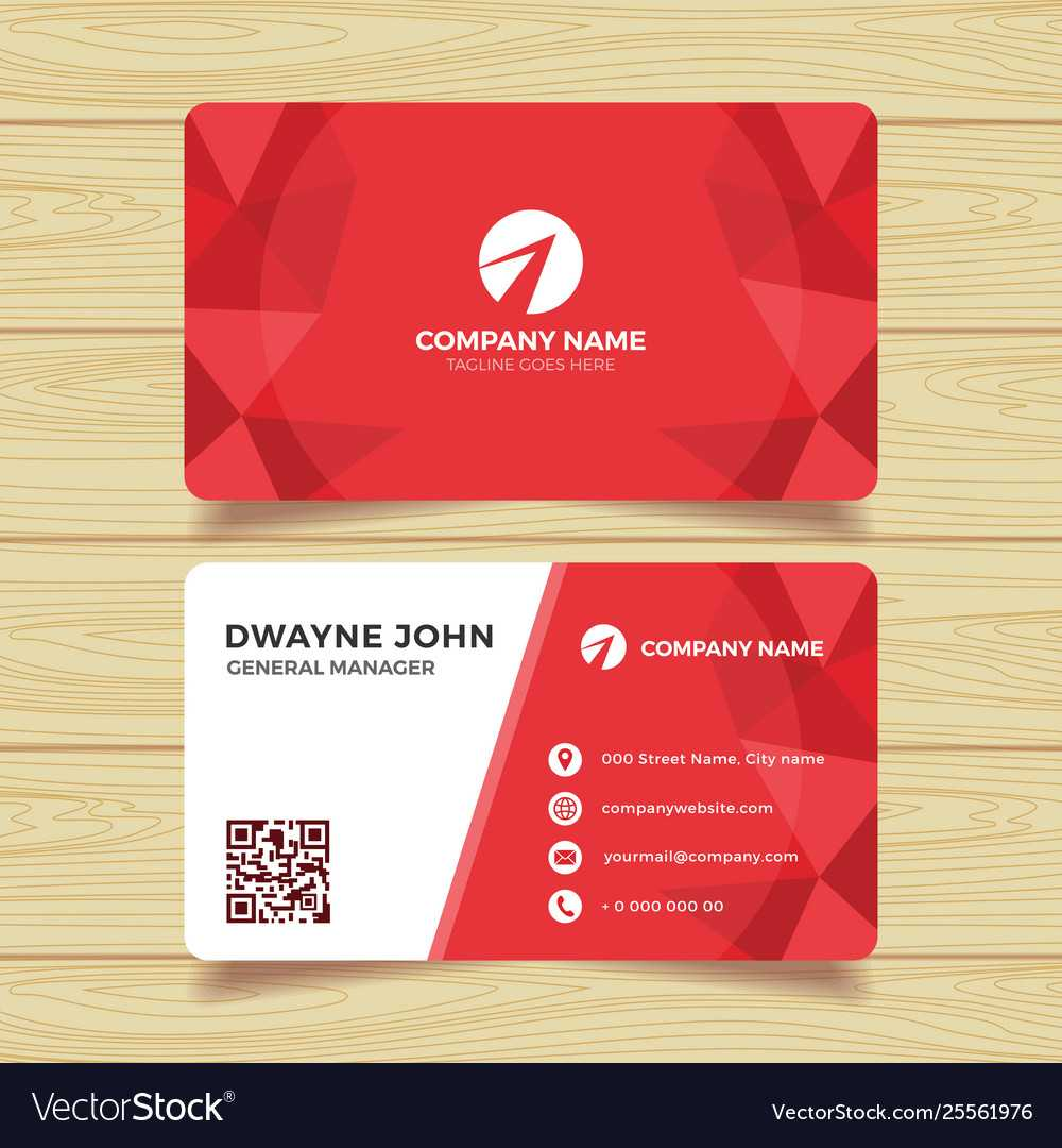 Red Geometric Business Card Template With Calling Card Free Template