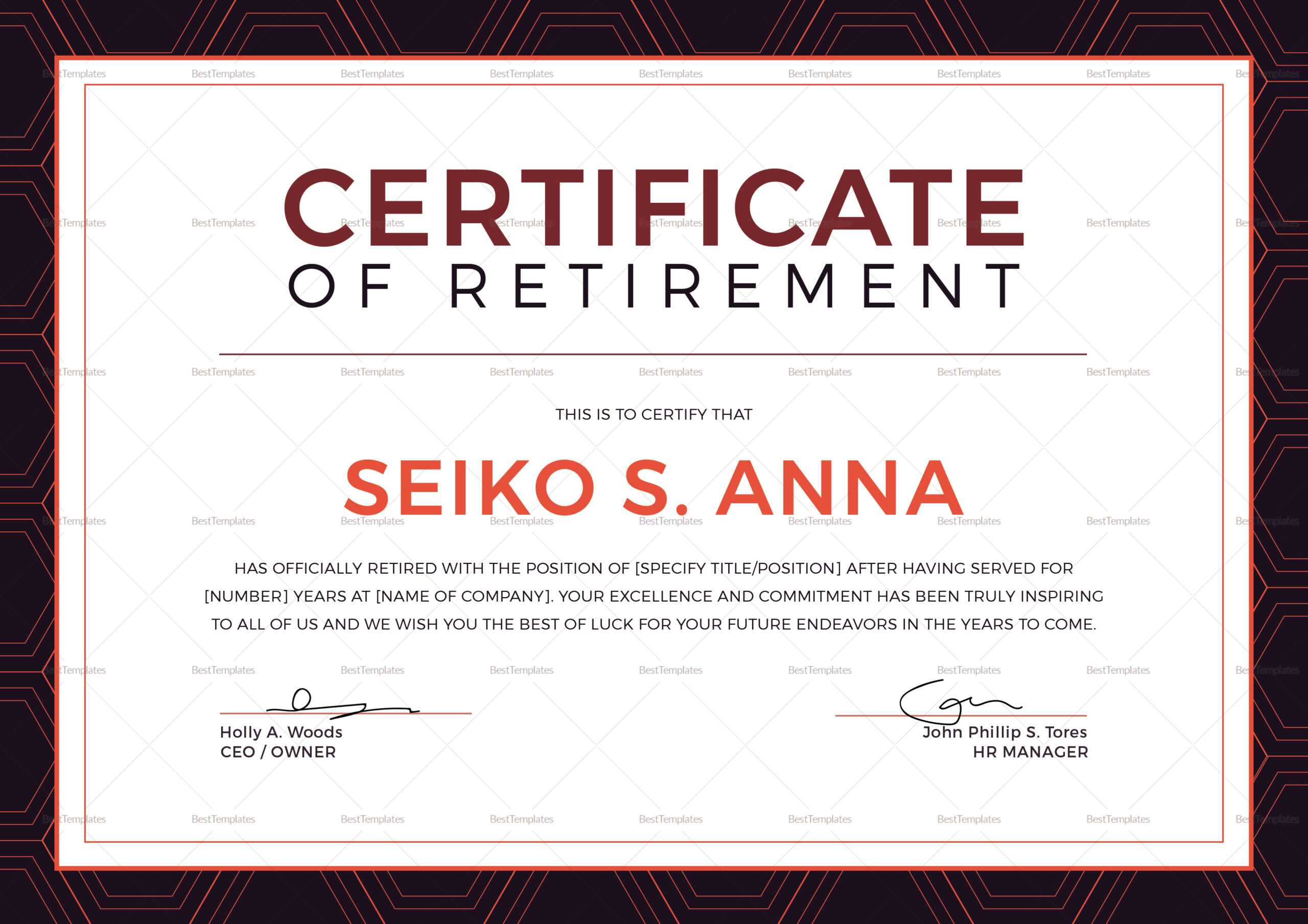 Retirement Certificate Template Inside Retirement Certificate Template