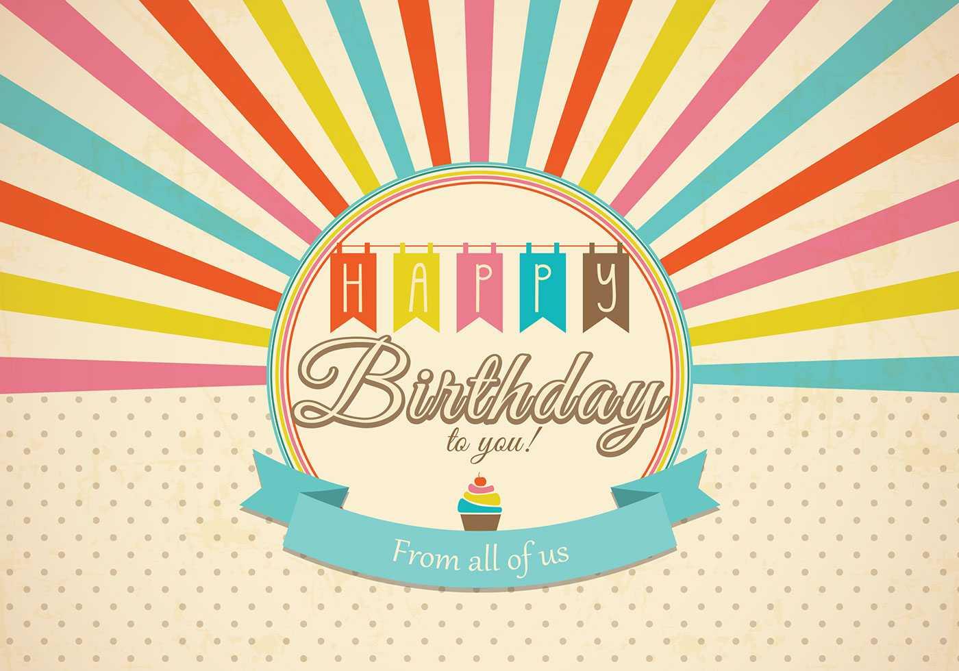 Retro Happy Birthday Card Psd - Free Photoshop Brushes At Regarding Photoshop Birthday Card Template Free