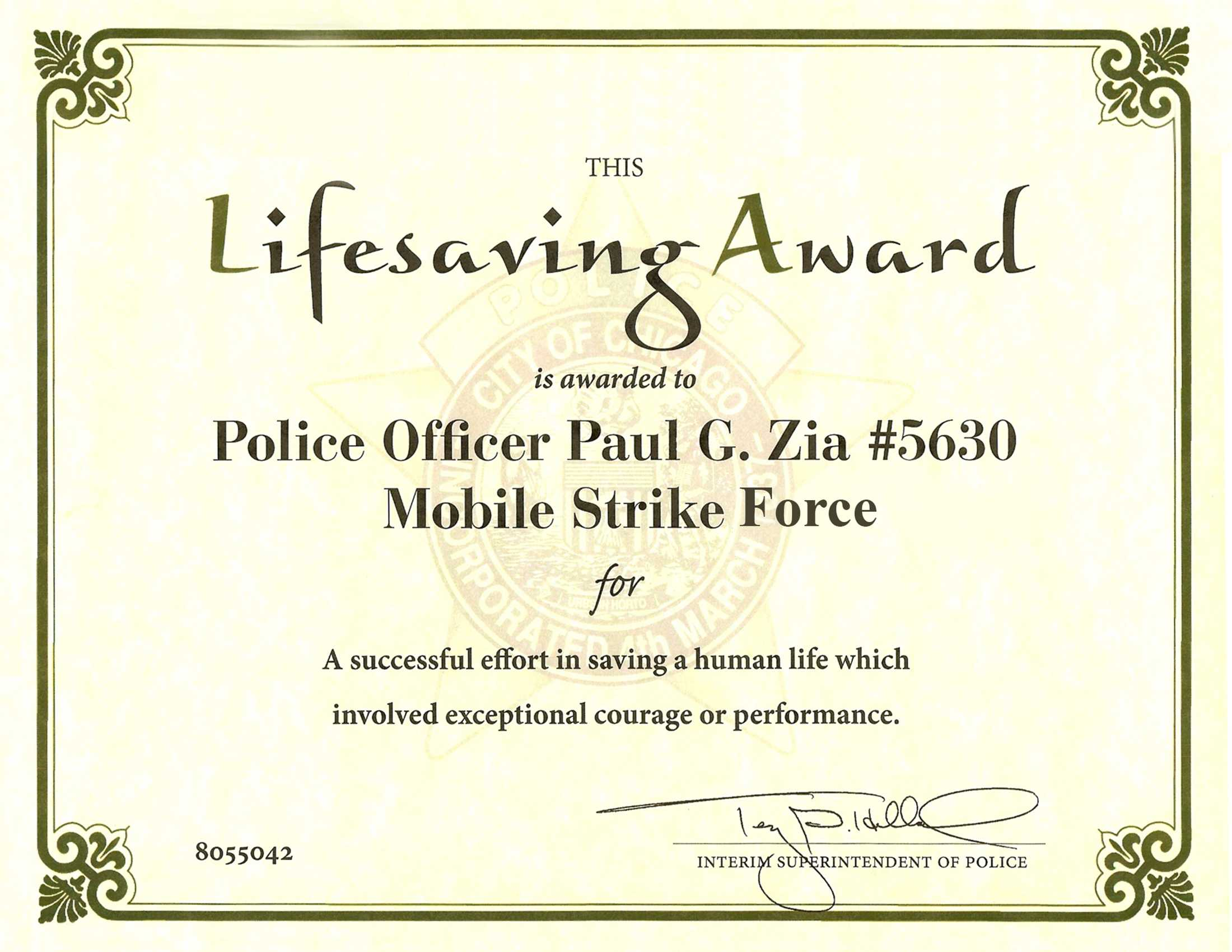 Ribbon Awards | Chicagocop Regarding Life Saving Award Certificate Template
