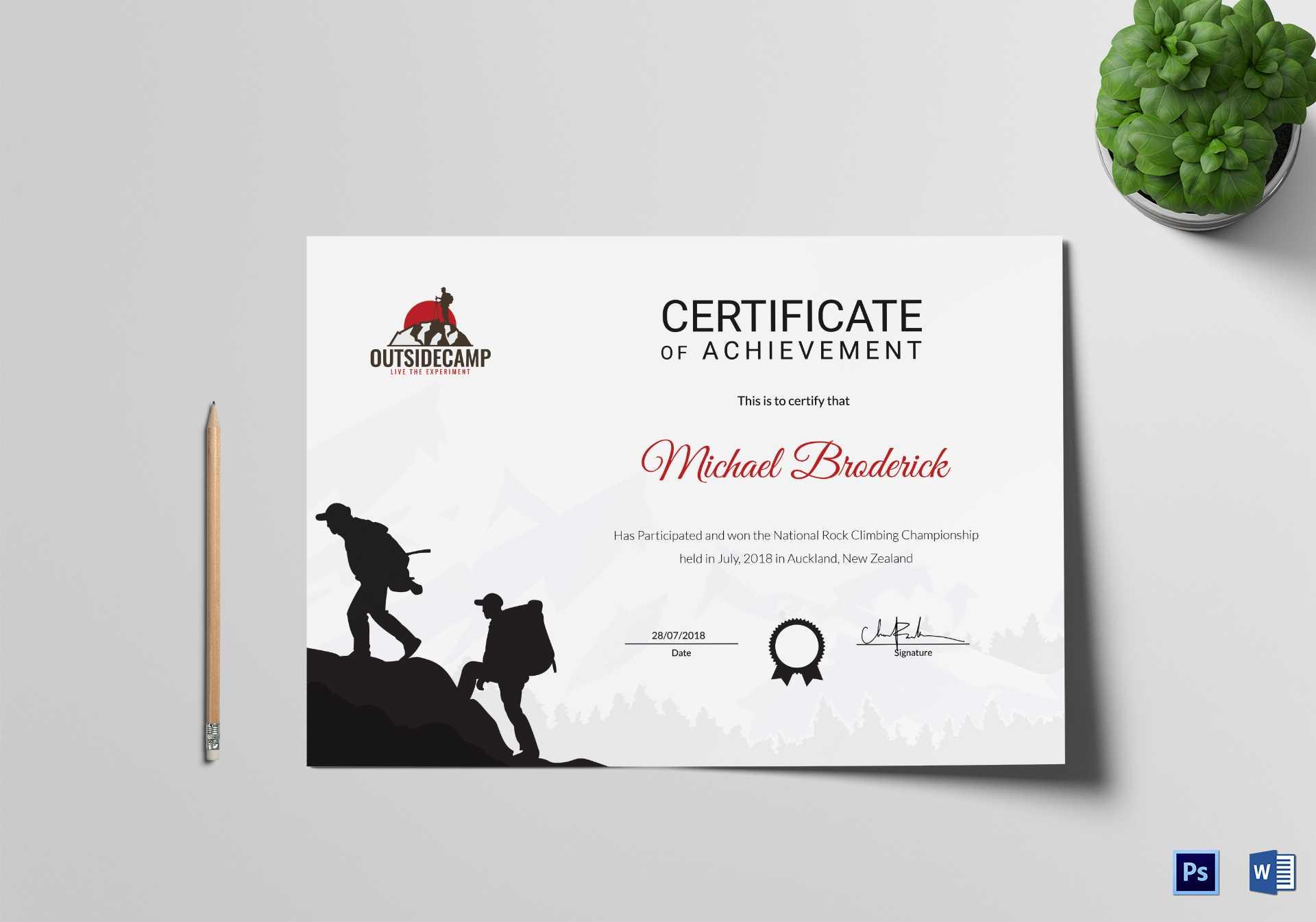 Rock Climbing Participation Certificate Template Throughout Walking Certificate Templates