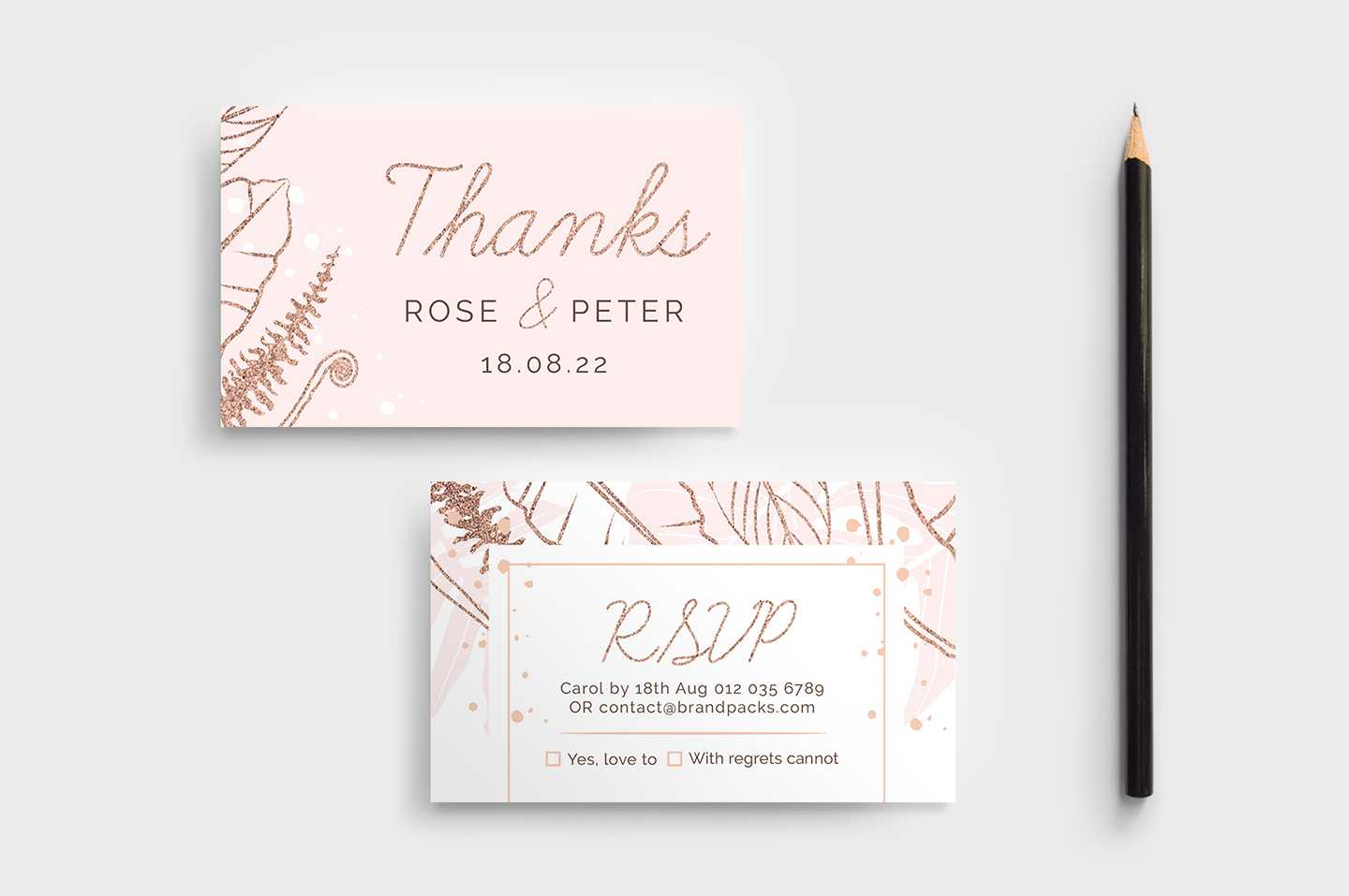Rose Gold Wedding Rsvp Card Template - Brandpacks Inside Template For Rsvp Cards For Wedding