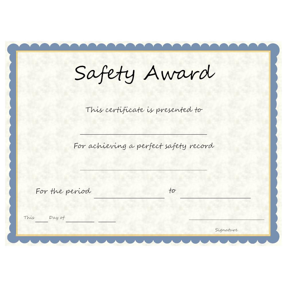 Safety Award Certificate Template - Karati.ald2014 Intended For Safety Recognition Certificate Template