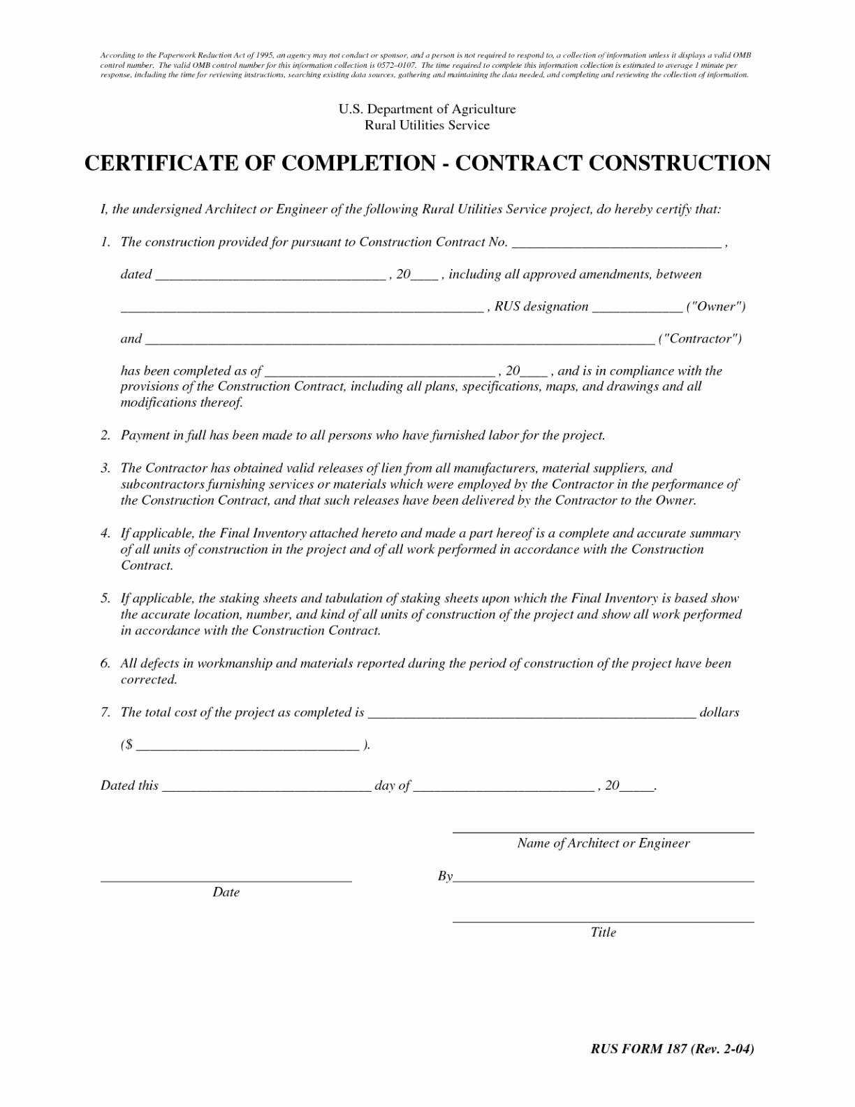 Sample Of Certificate Of Completion Of Construction Project For Certificate Of Completion Template Construction