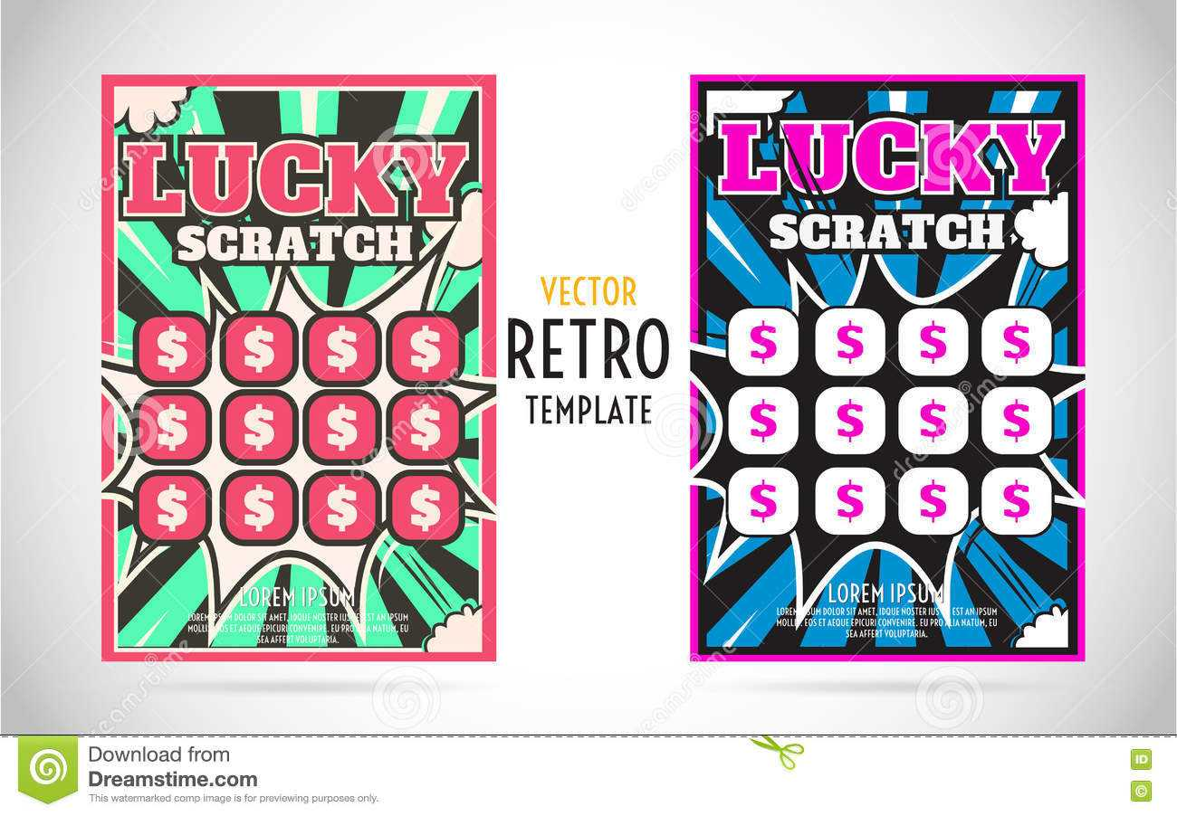 Scratch Off Lottery Ticket Vector Design Template Stock Within Scratch Off Card Templates