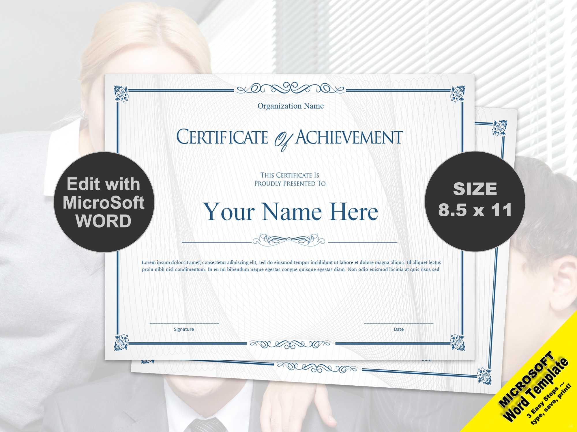Scroll Certificate Of Achievement Template Digital Download For Scroll Certificate Templates