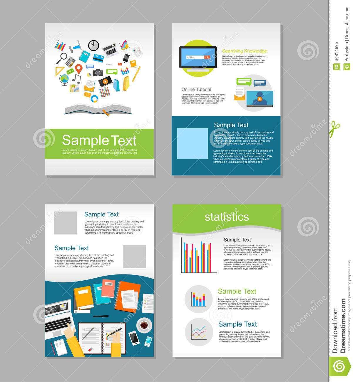 Set Of Flyer. Brochure Design Templates. Education With E Brochure Design Templates