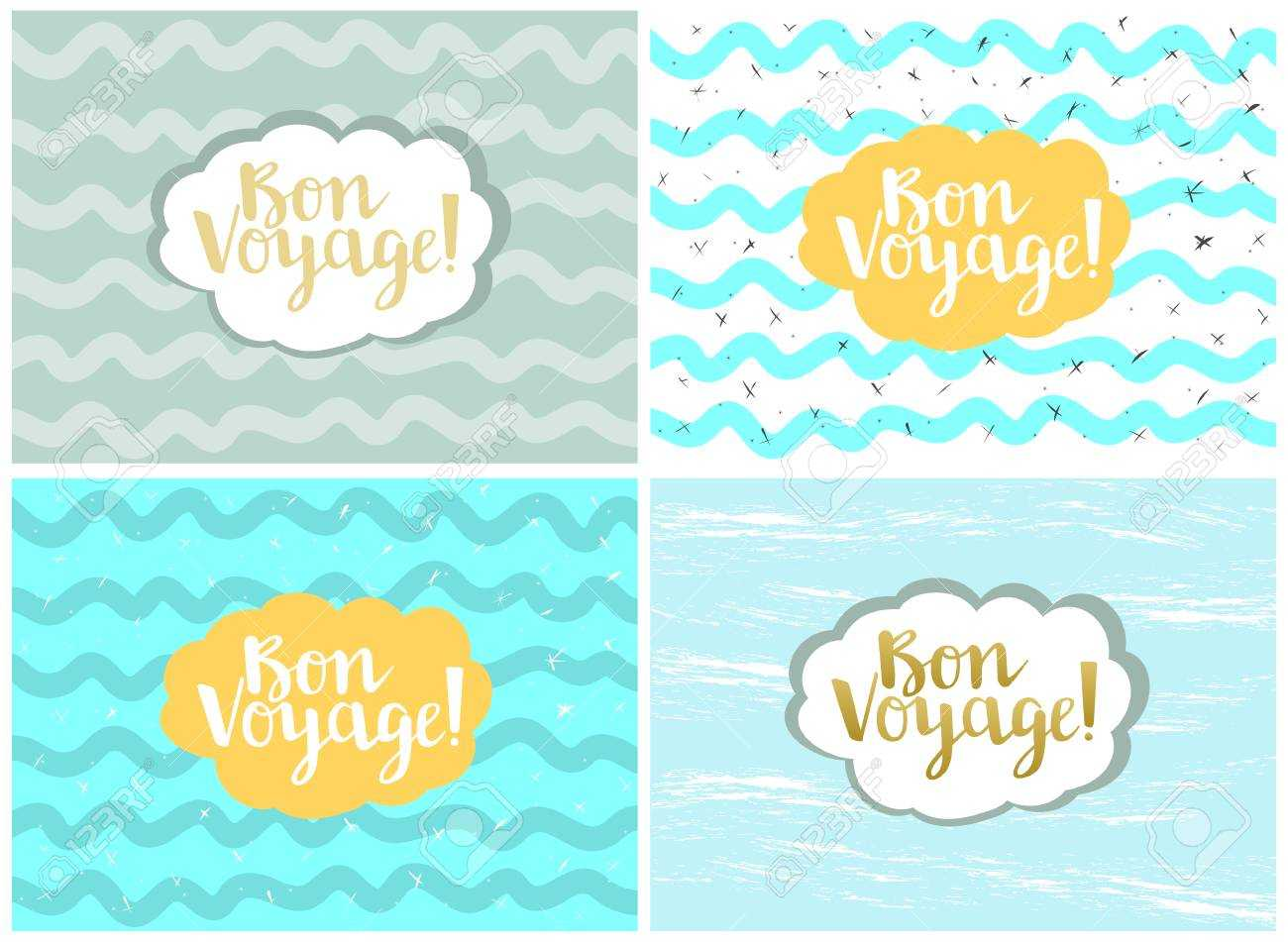 Set Of Four Cards, Vector Templates. Bon Voyage. Pertaining To Bon Voyage Card Template