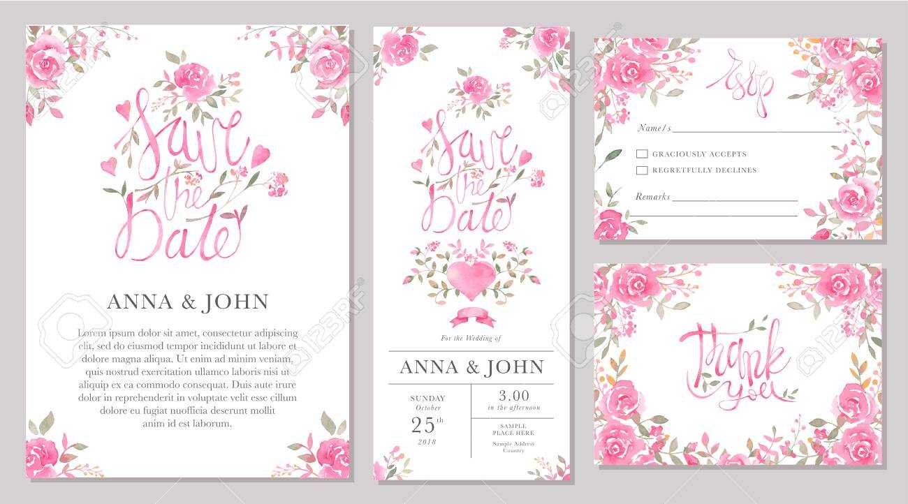 Set Of Wedding Invitation Card Templates With Watercolor Rose.. With Regard To Sample Wedding Invitation Cards Templates