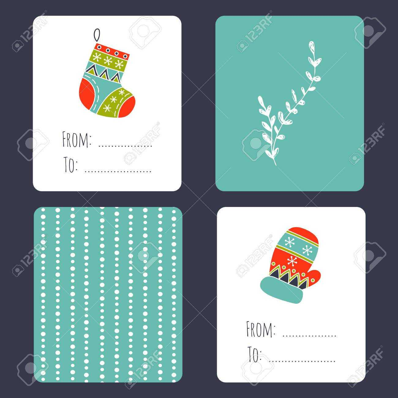 Set Of Winter Small Card Templates. Collection For Christmas.. Throughout Small Greeting Card Template