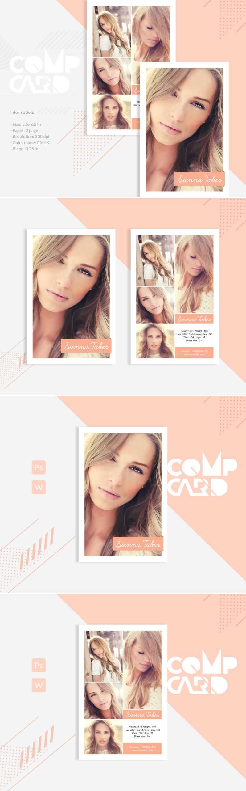 Sienna Taber – Modeling Comp Card Corporate Identity Template In Comp Card Template Download