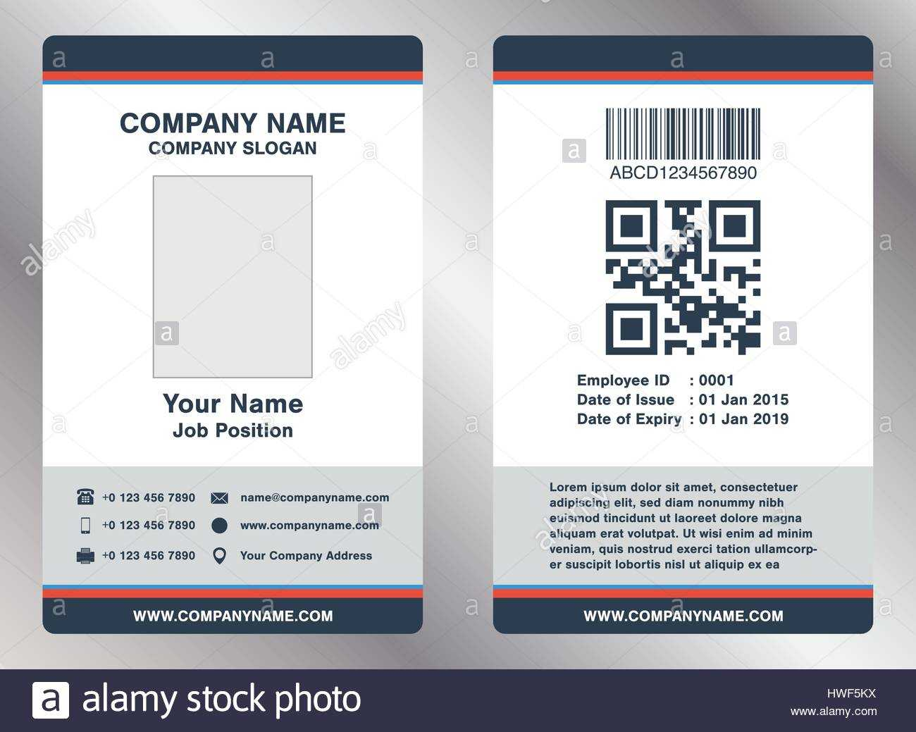 Simple Employee Business Name Card Template Vector Stock Inside Pvc Id Card Template