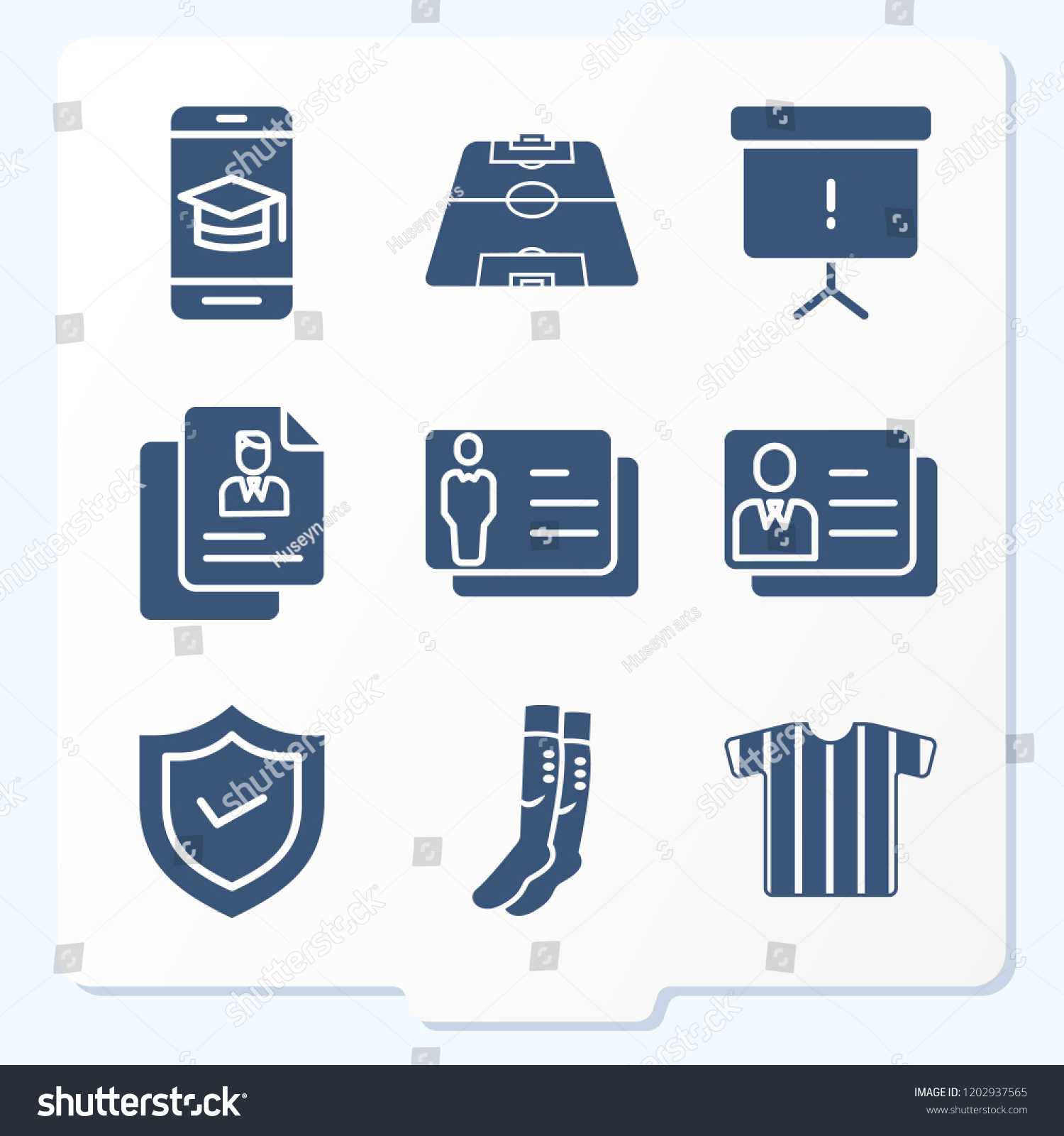 Simple Set 9 Icons Related Template Stock Vector (Royalty Regarding Shield Id Card Template