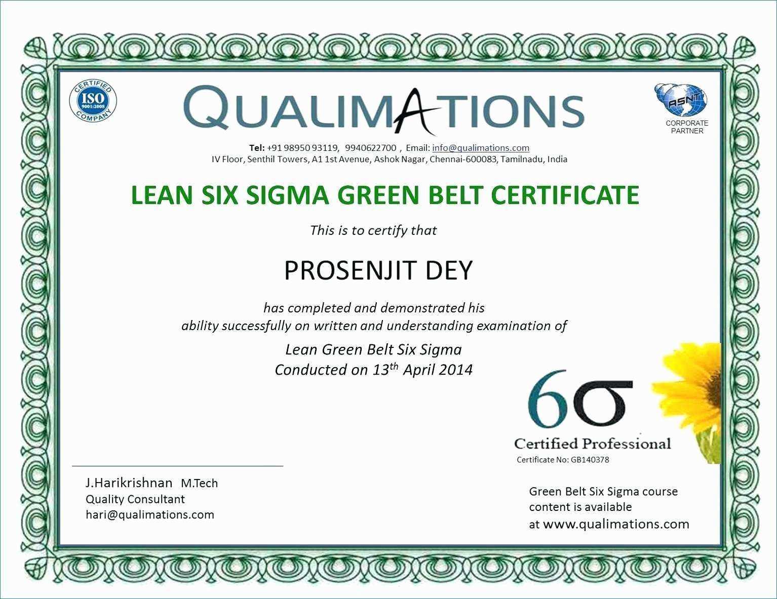 Six Sigma Black Belt Certificate Template – Carlynstudio Regarding Green Belt Certificate Template