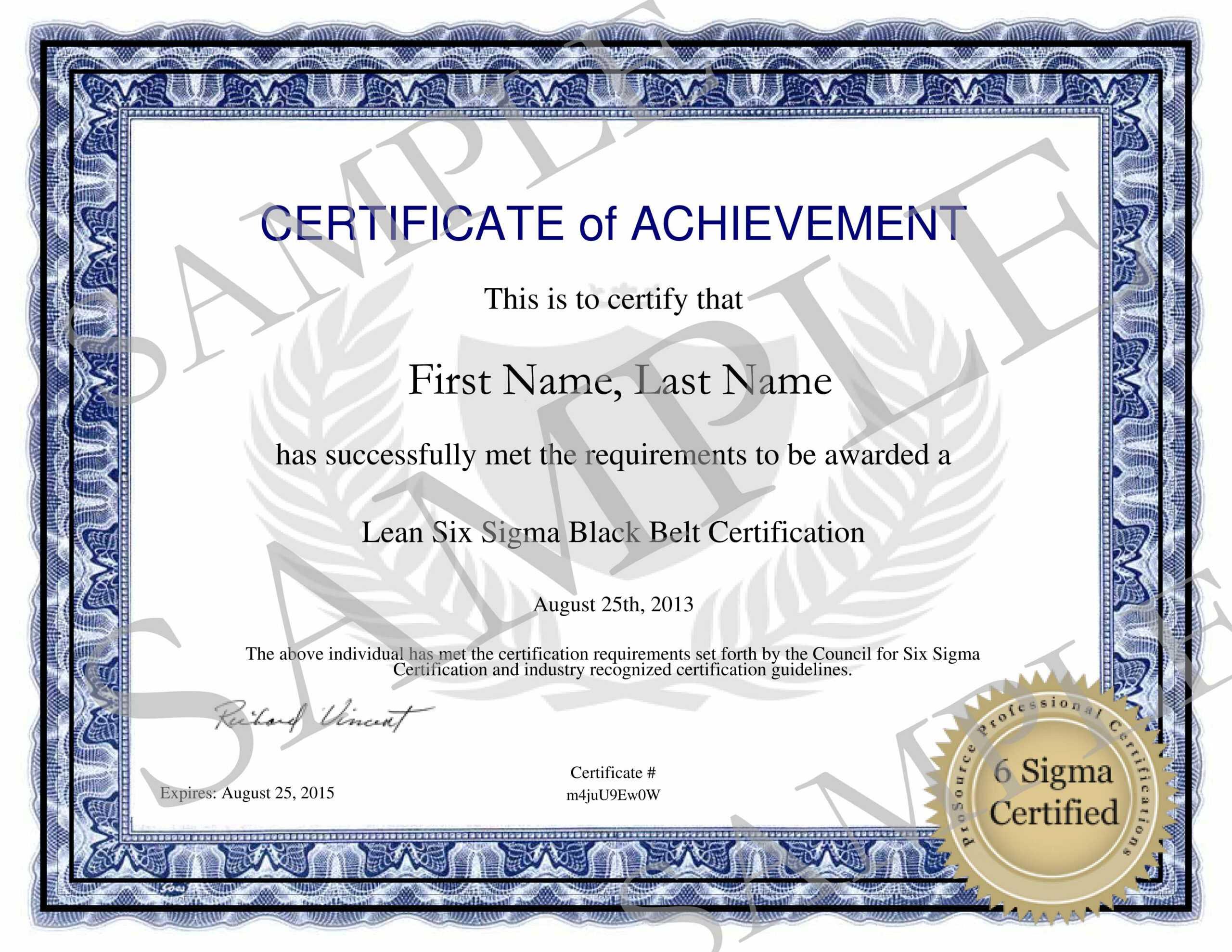 Six Sigma Green Belt Certification Pertaining To Green Belt Certificate Template