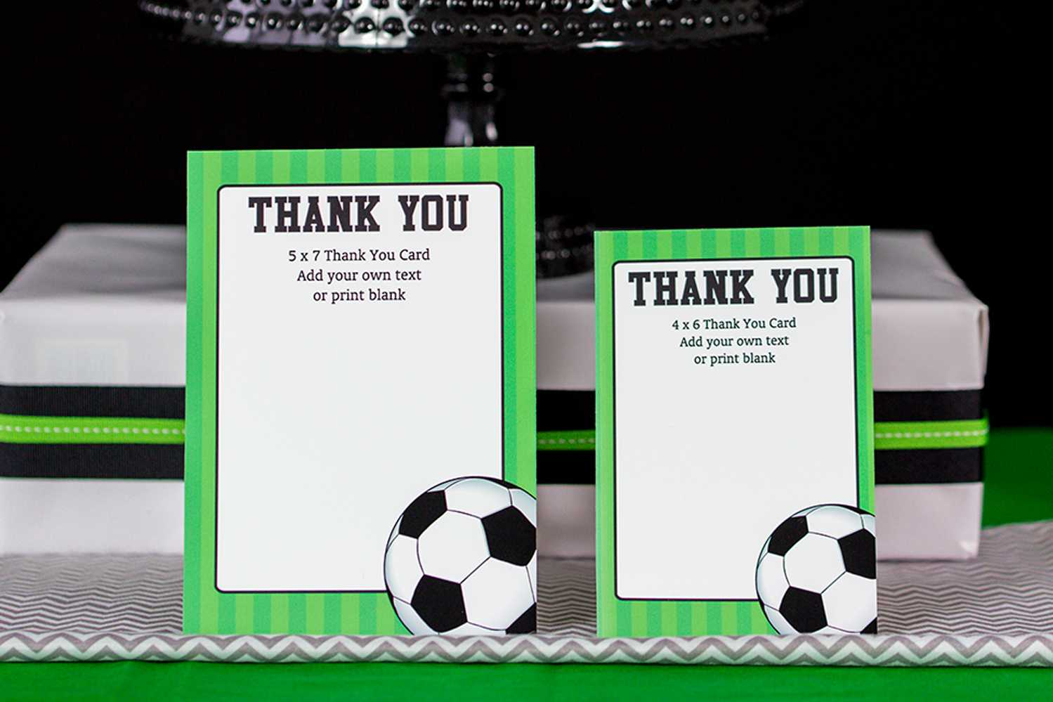 Soccer Party Decorations And Invitation Set Throughout Soccer Thank You Card Template