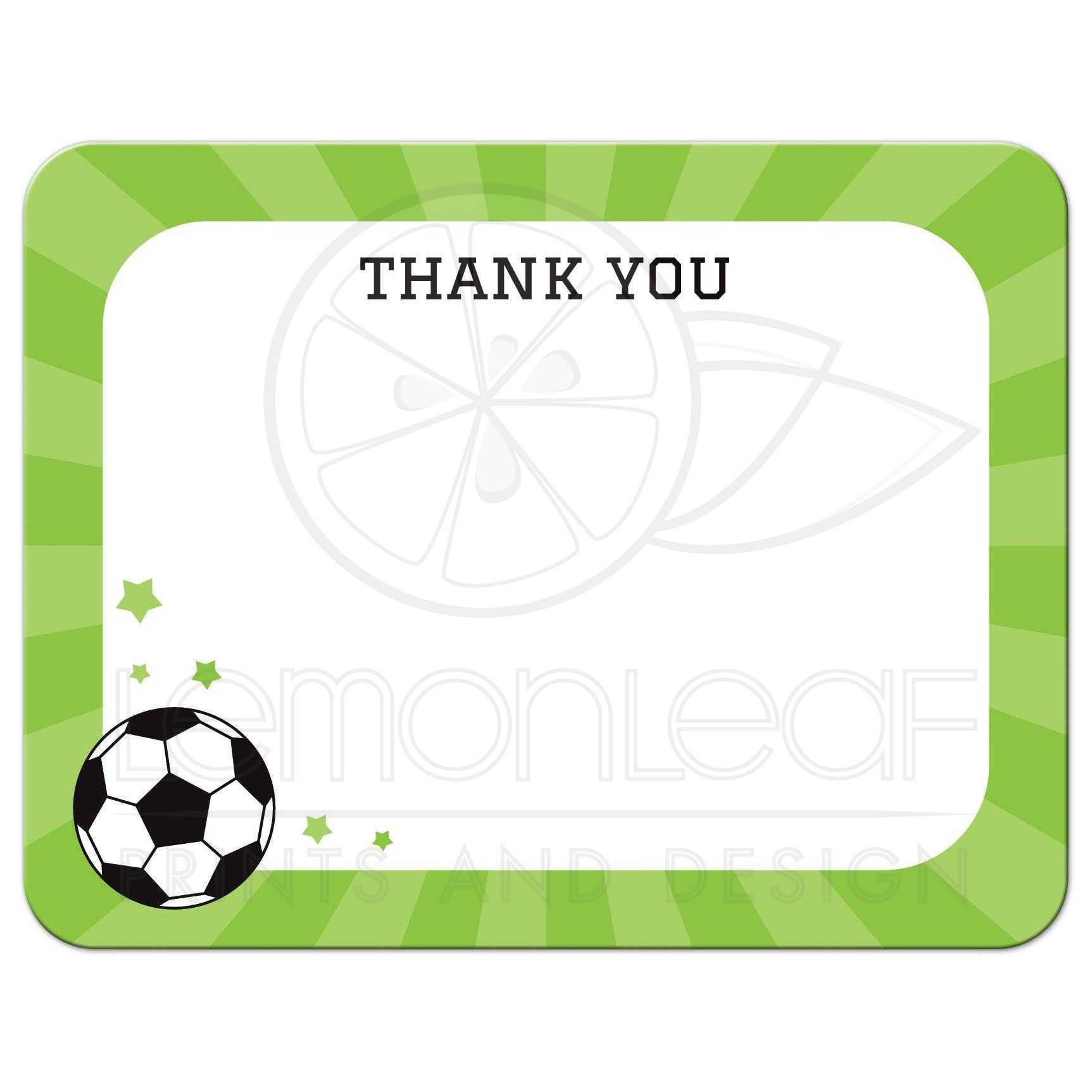 Soccer Thank You Cards - Karan.ald2014 For Soccer Thank You Card Template