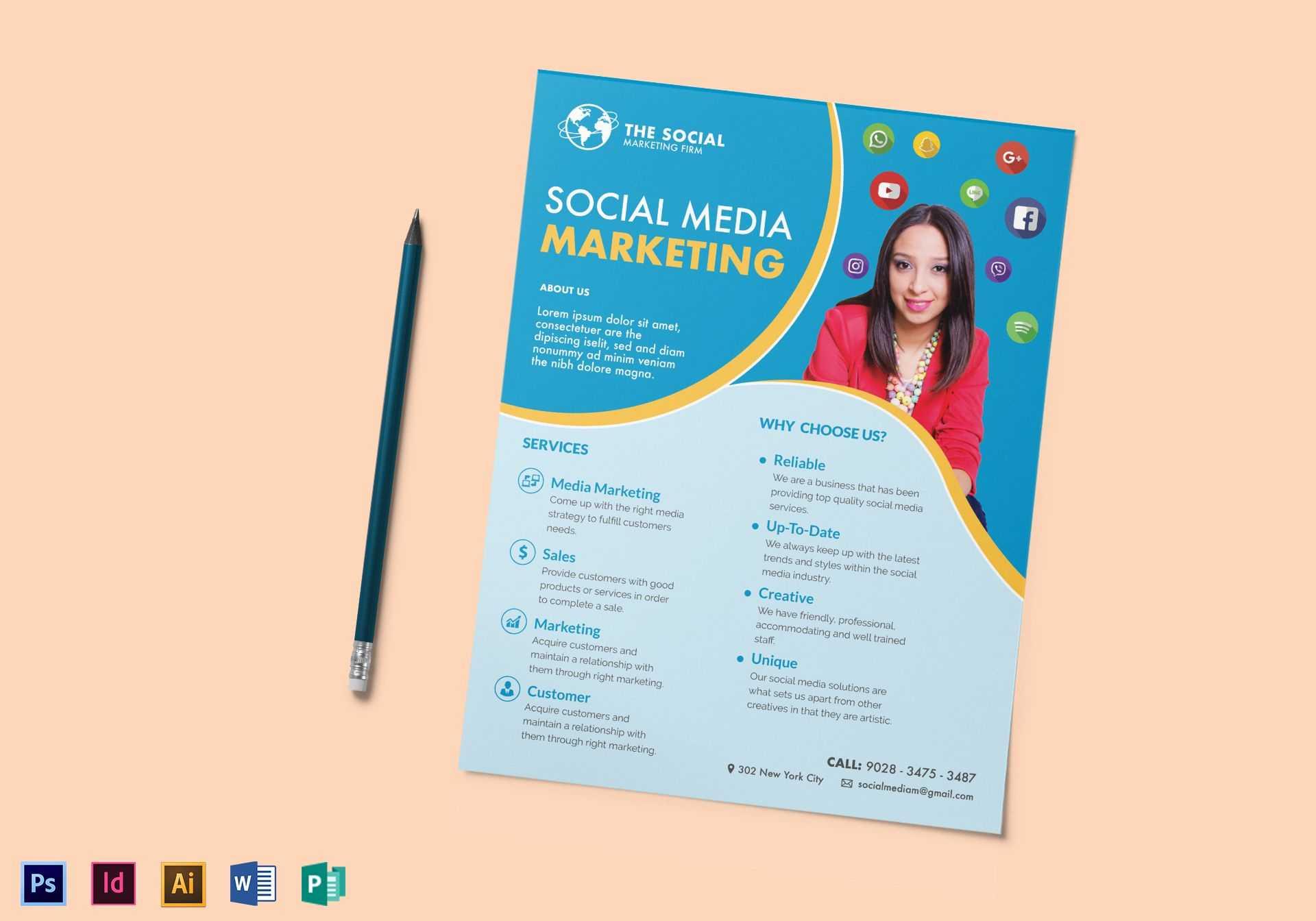 Social Media Marketing Flyer Template Throughout Social Media Brochure Template