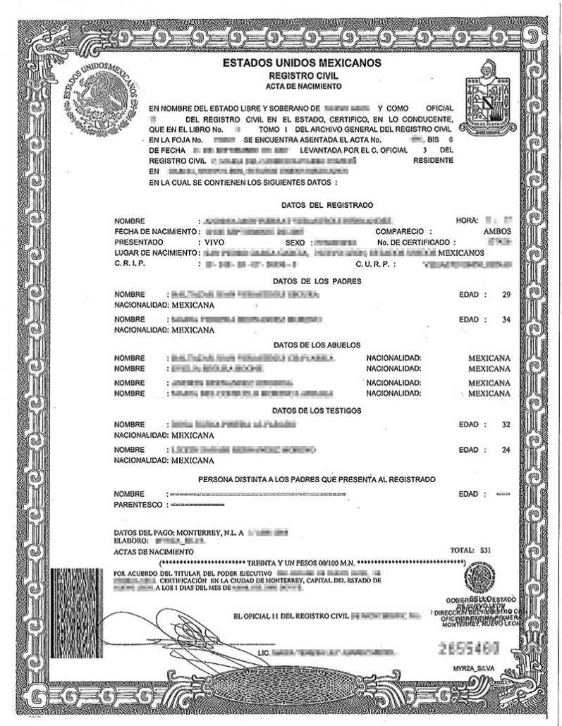 Spanish Birth Certificate Translation | Burg Translations Throughout Uscis Birth Certificate Translation Template
