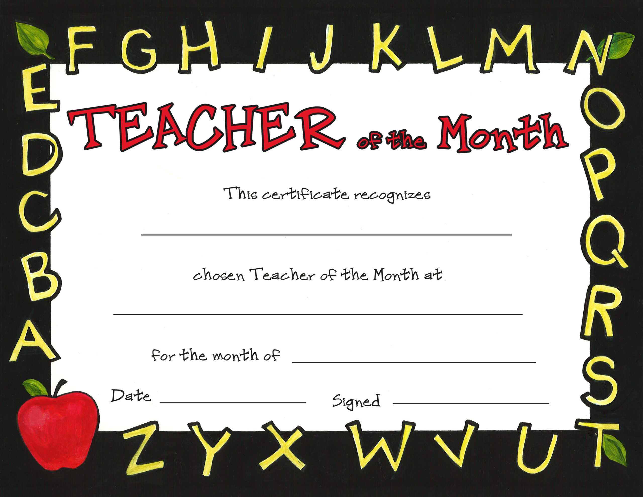 Special Awards Intended For Teacher Of The Month Certificate Template
