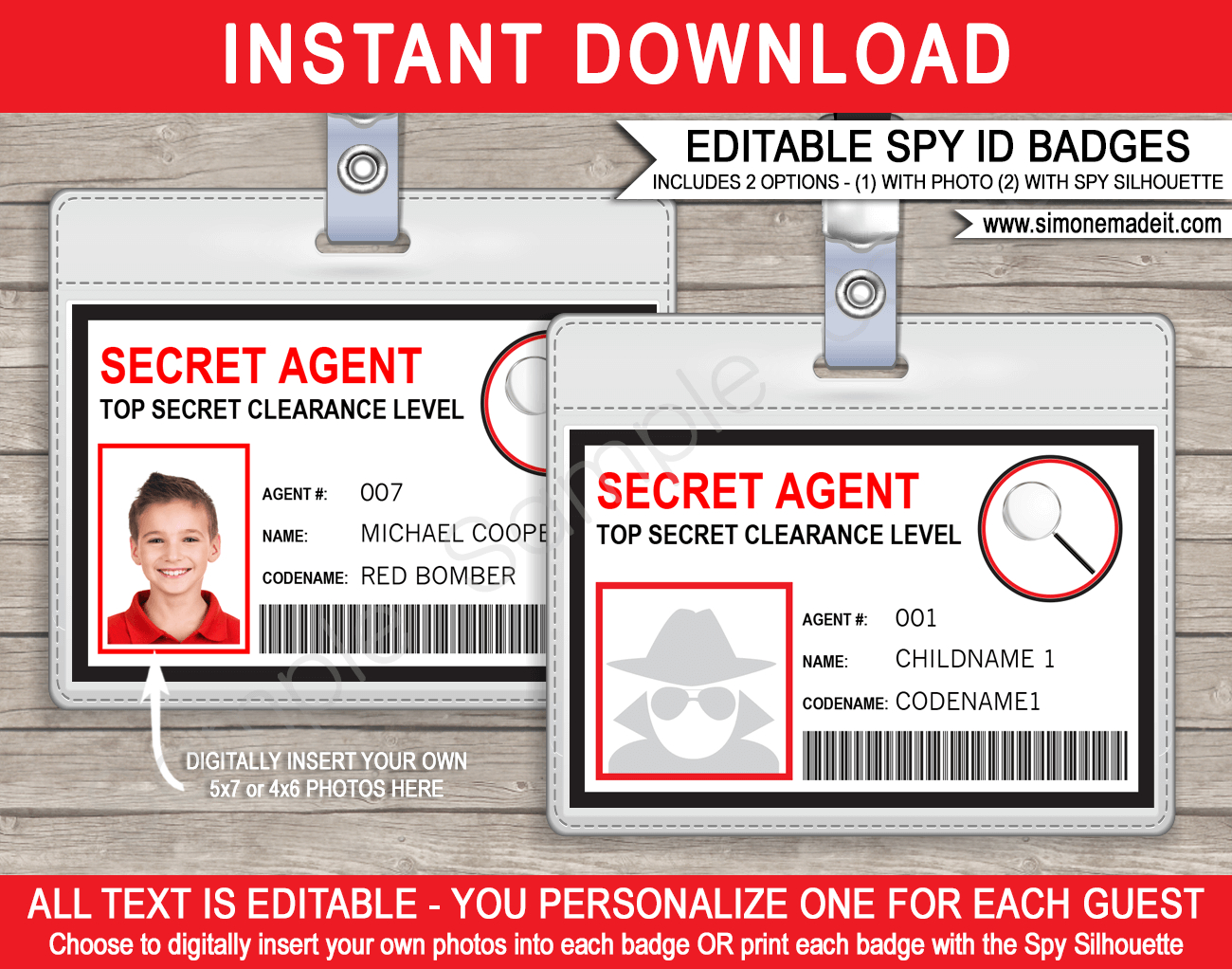 Spy Or Secret Agent Badge Template – Red For Spy Id Card Template