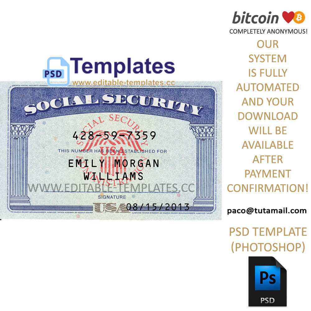 Ssn Usa Social Security Number Template Pertaining To Social Security Card Template Photoshop