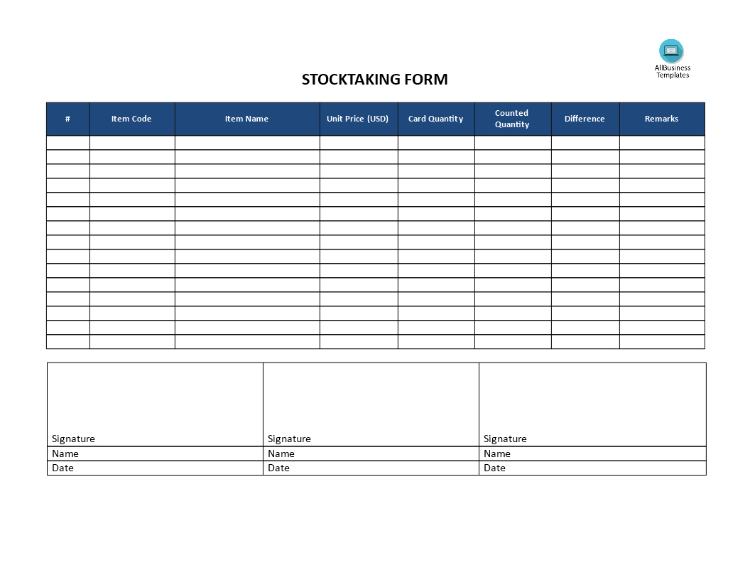 Stocktaking Template   Templates At Allbusinesstemplates With Regard To Bin Card Template