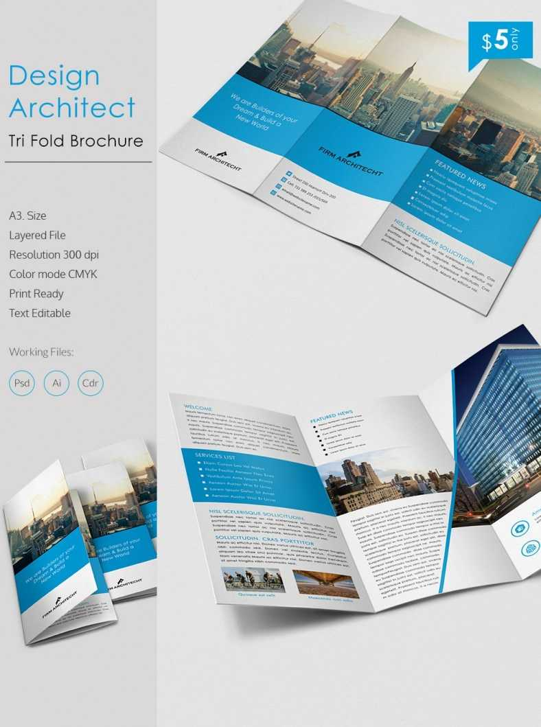 Stunning Design Architect A3 Tri Fold Brochure Template With Regard To Architecture Brochure Templates Free Download