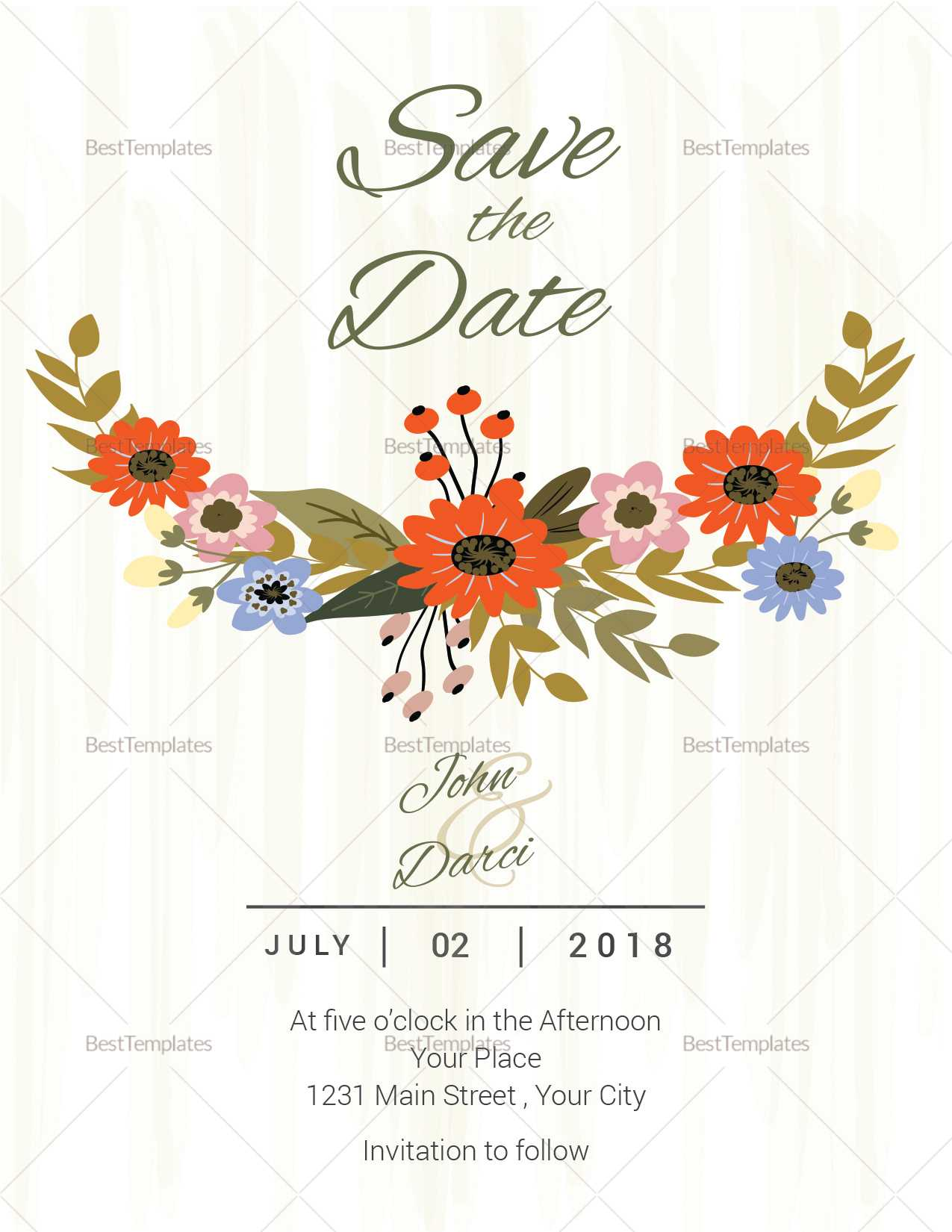 Summer Floral Save The Date Card Template With Regard To Save The Date Cards Templates