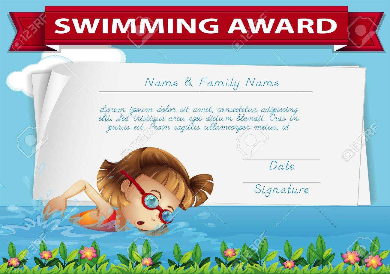 Swimming Award Certificate Template Illustration With Swimming Award Certificate Template