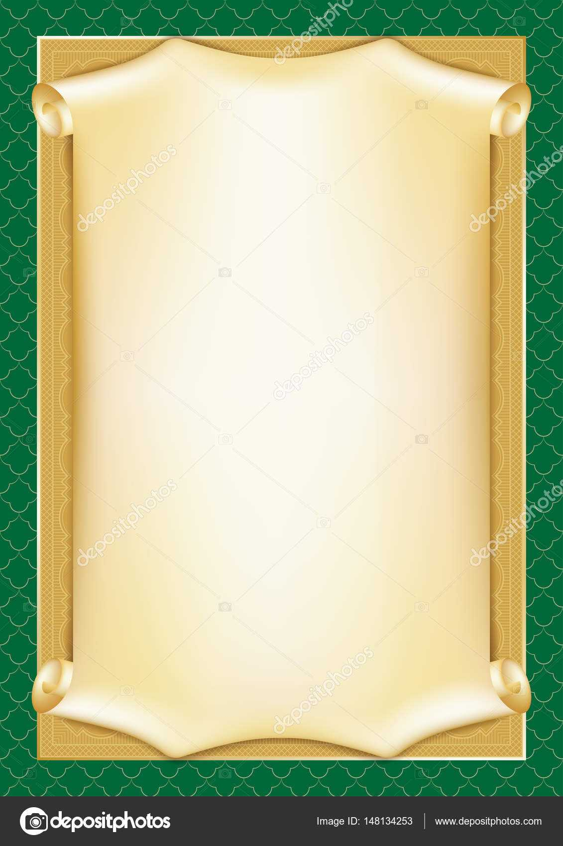 Template For Diploma, Certificate, Card With Scroll And Pertaining To Scroll Certificate Templates