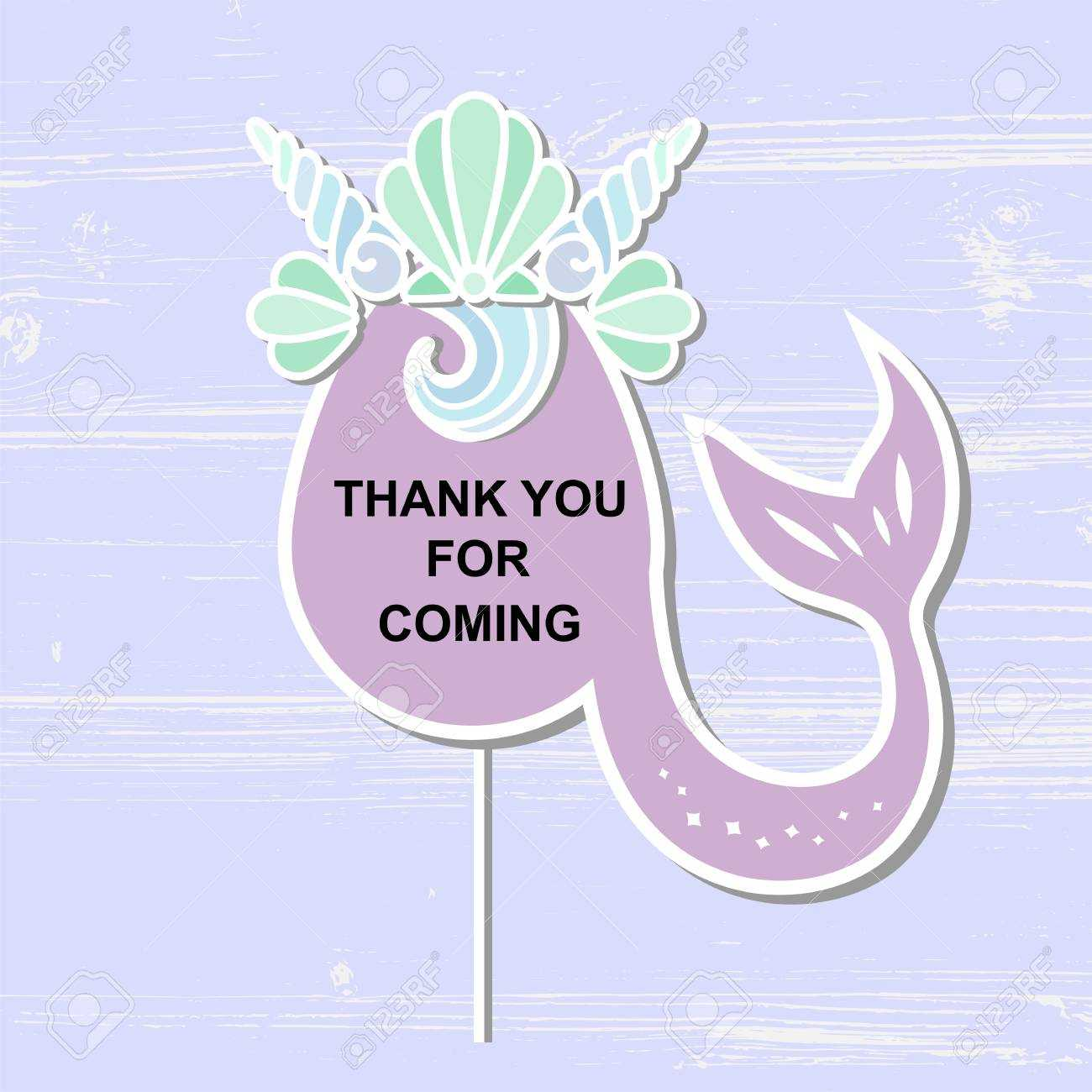 Template With Mermaid's Crown And Tail For Party Invitation,.. In Template For Baby Shower Thank You Cards