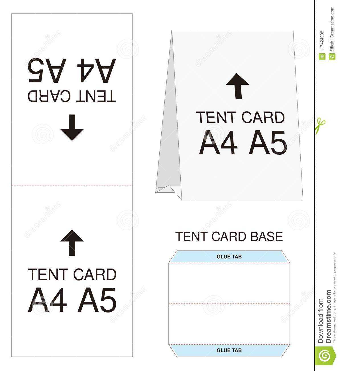 Tent Card A4 A5 Size Mock Up Die Cut Stock Vector In Free Tent Card Template Downloads