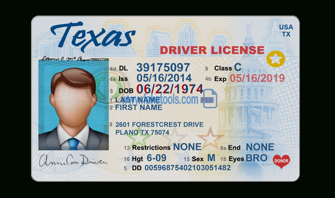 Texas Driver License Psd Template In Texas Id Card Template