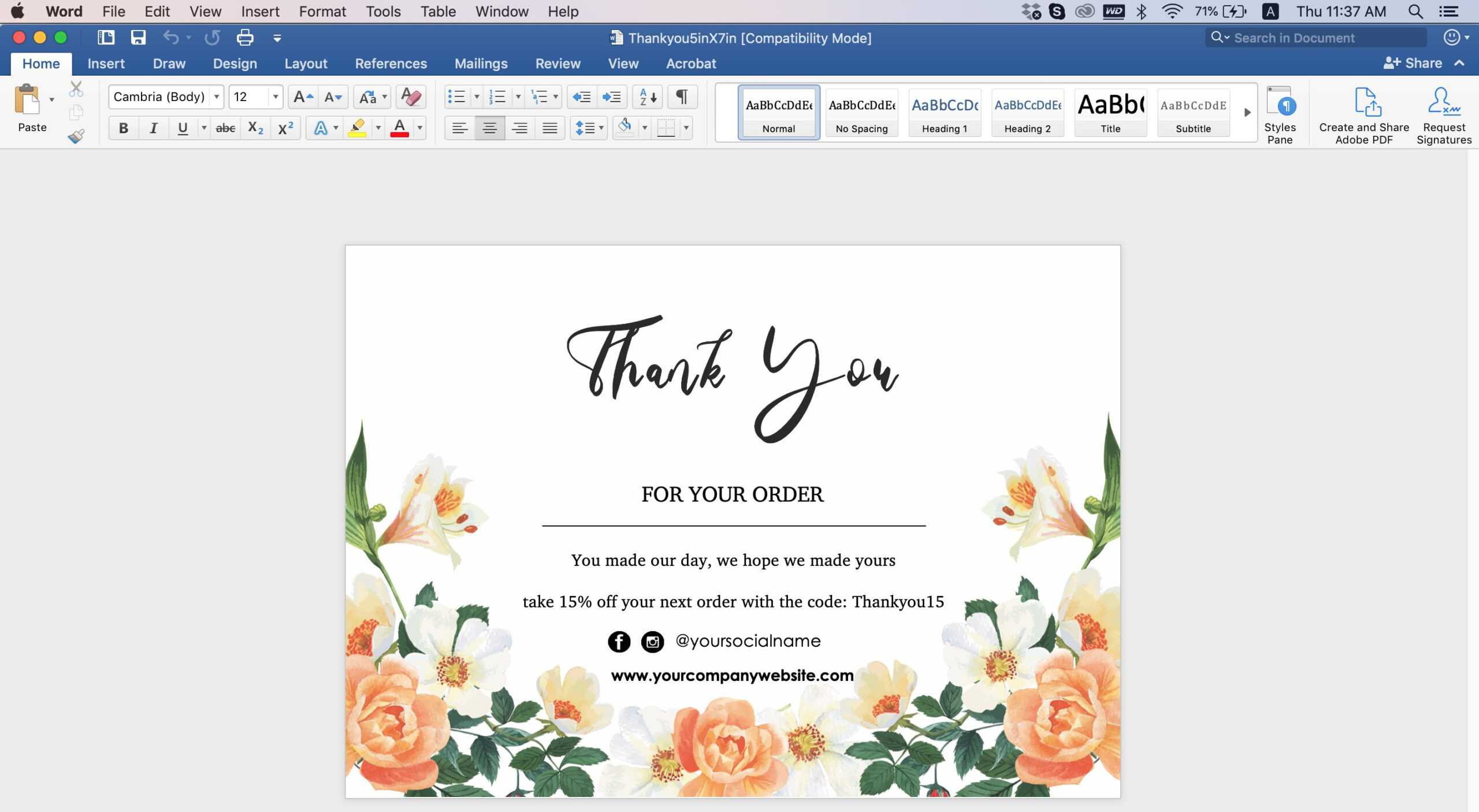 Thank You Card-Id08 with Thank You Card Template Word