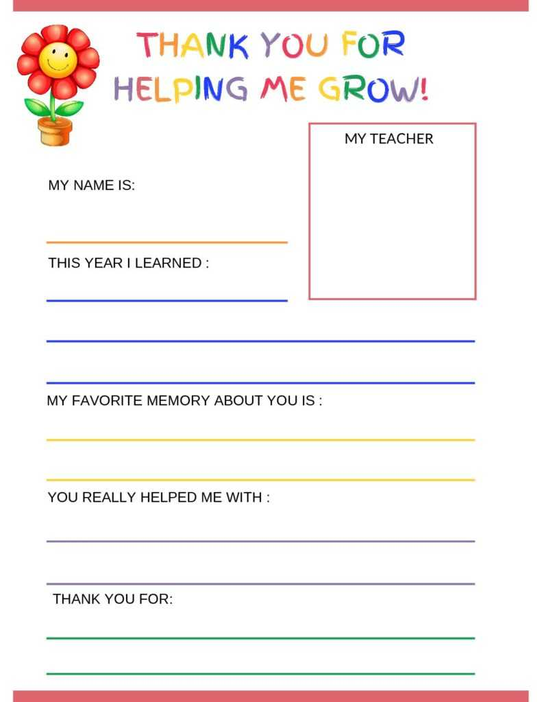 Thank You Letter To Teacher From Student - Free Printable With Regard To Thank You Card For Teacher Template