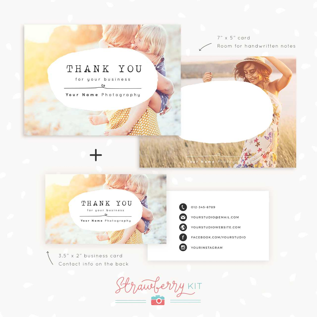 Thank You Note Card For Business   Set Of Two - Strawberry Kit Throughout Thank You Note Card Template