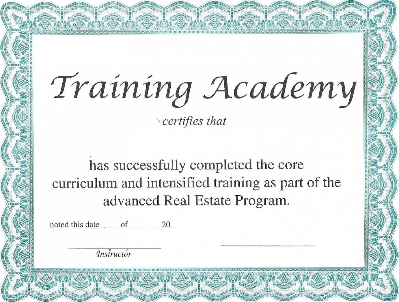 Training Certificate Template – Certificate Templates For Template For Training Certificate