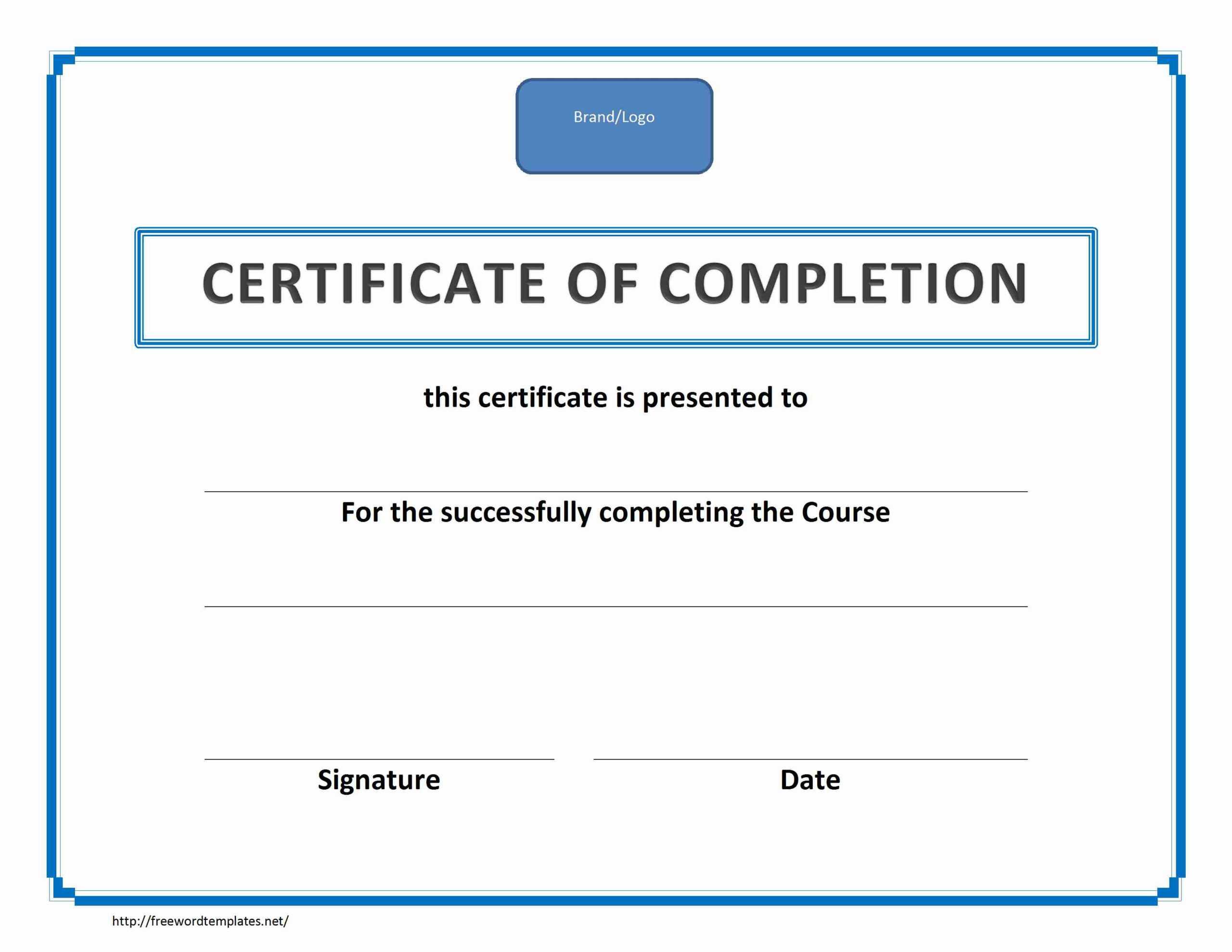 Training Certificate Template Pdf | Blank Certificates Pertaining To Training Certificate Template Word Format